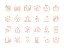 Ícone do transporte e da entrega O correio retornou símbolos moventes globais do esboço do vetor do frete de mar da logística do  ilustração royalty free