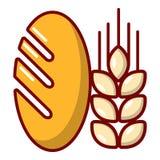 Ícone do trigo de pão, estilo dos desenhos animados ilustração stock