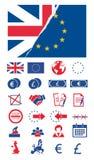 Ícone do vetor ajustado criando o infographics relativo a Brexit, União Europeia, a Grâ Bretanha e a votos com a UE e o Unicon ra ilustração do vetor