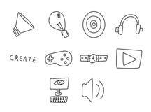 Ícone do vetor ajustado para jogos de vídeo Fotografia de Stock Royalty Free