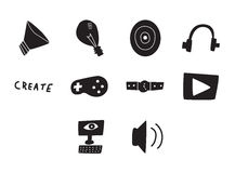 Ícone do vetor ajustado para jogos de vídeo Foto de Stock