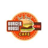 Ícone do vetor do cheeseburger do restaurante da casa do hamburguer ilustração stock