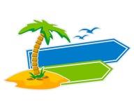 Ícone do vetor com sinais da palmeira e do ponteiro ilustração royalty free