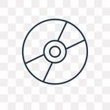 Ícone do vetor do compact disc isolado no fundo transparente, lin ilustração royalty free