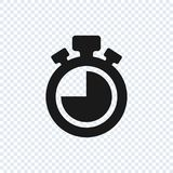 Ícone do vetor do cronômetro no fundo transparente Ícone do vetor do cronômetro ilustração stock