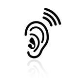 Ícone do vetor da audição da orelha ilustração do vetor