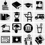 Ícone do vetor da educação ajustado no cinza Fotografia de Stock