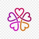 Ícone do vetor da flor do logotipo do coração ilustração royalty free