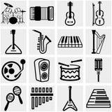 Ícone do vetor da música ajustado no cinza Imagens de Stock Royalty Free