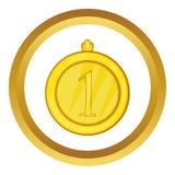 Ícone do vetor da medalha do lugar do ouro primeiro Fotos de Stock