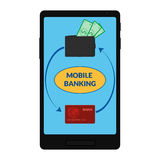 Ícone do vetor da operação bancária móvel Fotografia de Stock Royalty Free