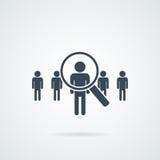 Ícone do vetor da pesquisa de pessoas Silhueta abstrata dos povos na forma da lente de aumento Conceito de projeto para a busca p Imagens de Stock Royalty Free