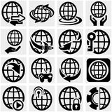 Ícone do vetor da terra do globo ajustado no cinza Fotos de Stock Royalty Free