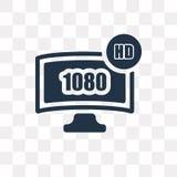 ícone do vetor da tevê de 1080p HD isolado no fundo transparente, 1080 ilustração do vetor