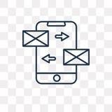 Ícone do vetor das mensagens isolado no fundo transparente, linear ilustração royalty free