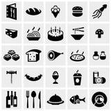 Ícone do vetor do alimento ajustado no cinza Fotos de Stock