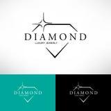 Ícone do vetor do diamante ajustado na linha estilo Painel solar e sinal para a energia alternativa ilustração stock