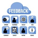 Ícone do vetor do feedback ajustado para empregadores do negócio e situações dos trabalhos de equipa Imagens de Stock Royalty Free