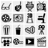 Ícone do vetor do filme ajustado no cinza Fotos de Stock Royalty Free