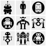 Ícone do vetor do robô ajustado no cinza Imagem de Stock