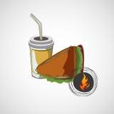 Ícone do vetor do sanduíche do fast food e de uma bebida Foto de Stock Royalty Free