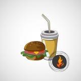Ícone do vetor do sanduíche do fast food e de uma bebida Fotografia de Stock Royalty Free