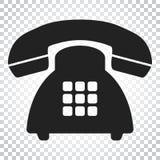 Ícone do vetor do telefone Ilustração velha do símbolo do telefone do vintage Si ilustração royalty free