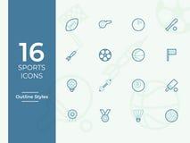 Ícone do vetor dos esportes, símbolo dos esportes, esboço simples, ícones do vetor do esboço ilustração do vetor