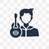 Ícone do vetor do guitarrista isolado no fundo transparente, Gu ilustração do vetor