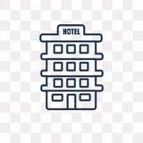 Ícone do vetor do hotel isolado no fundo transparente, quente linear ilustração royalty free