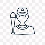 Ícone do vetor do jogador de beisebol isolado no fundo transparente, ilustração do vetor