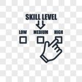 ícone do vetor do nível de habilidade isolado no fundo transparente, projeto do logotipo do nível de habilidade Imagens de Stock