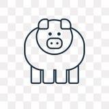 Ícone do vetor do porco isolado no fundo transparente, porco linear t ilustração stock