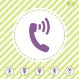 Ícone do vetor do telefone com ondas ilustração do vetor