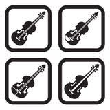 Ícone do violino em quatro variações Fotos de Stock Royalty Free