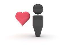 ícone do Web 3d - favoritos (versão do coração) Foto de Stock Royalty Free
