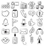 Ícone do Web dos desenhos animados da tração da mão Foto de Stock