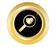 Ícone do zoom do dia de Valentim com coração no preto com vetor do botão do ouro ilustração stock