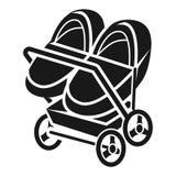 Ícone dobro do carrinho de criança, estilo simples ilustração stock