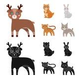 Ícone dos animais, o doméstico, o selvagem e o outro da Web nos desenhos animados, estilo preto Jardim zoológico, brinquedos, cri ilustração do vetor