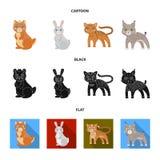 Ícone dos animais, o doméstico, o selvagem e o outro da Web nos desenhos animados, preto, estilo liso Jardim zoológico, brinquedo ilustração stock