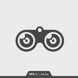 Ícone dos binóculos para a Web e o móbil Fotografia de Stock