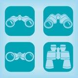 Ícone dos binóculos - quatro variações Foto de Stock