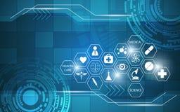 Ícone dos cuidados médicos no fundo do projeto do sumário do teste padrão do retângulo Imagens de Stock