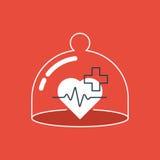 Ícone dos cuidados médicos, pulso do coração, verificação acima dos diagnósticos Fotografia de Stock Royalty Free