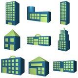Ícone dos edifícios ajustado em 3d ilustração stock