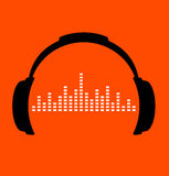 Ícone dos fones de ouvido com batidas da onda sadia ilustração do vetor