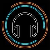 Ícone dos fones de ouvido do vetor - música sadia fotografia de stock royalty free