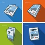 Ícone dos impressos ajustado no estilo dos desenhos animados Foto de Stock Royalty Free