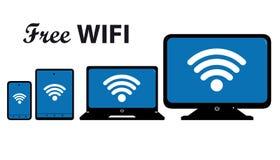 Ícone dos multimédios ajustado - Wifi livre Connetion em dispositivos móveis ilustração royalty free